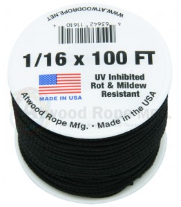 """Atwood Utility Cord -- 1/16"""" - Black"""