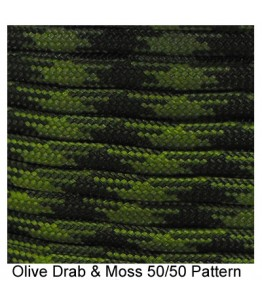 550 Paracord - OD and Moss 50/50 - 100'
